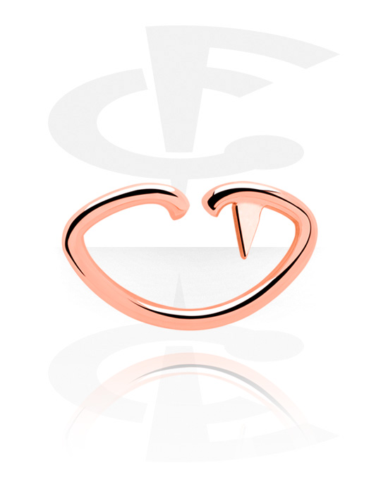 Piercingringen, Lipvormige Continuous Ring, Met roségoud verguld chirurgisch staal