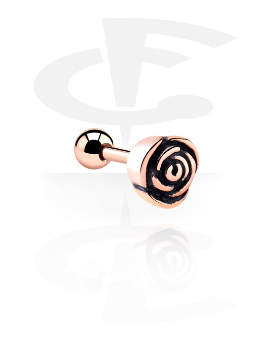 Helix / Tragus, Tragus Piercing, Stal chirurgiczna powlekana różowym złotem 316L