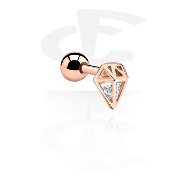 Helix / Tragus, Tragus-Piercing, Acciaio con placcatura in oro rosato