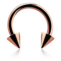 Circular Barbell, Circular barbell con coni, Acciaio con placcatura in oro rosato