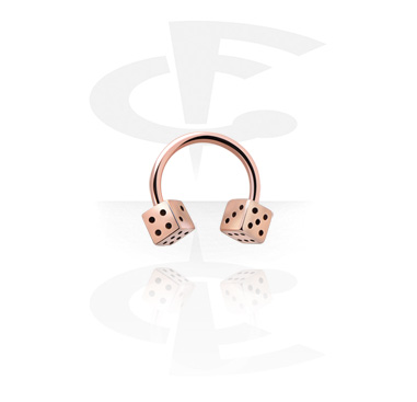 Circular Barbells, Circular Barbell with Dice, Rosegold Plated Steel