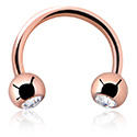 Podkówki, Double Jewelled  Circular Barbell, Rosegold Plated Steel