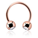 Okrugle šipkice, Double Jewelled  Circular Barbell, Rosegold Plated Steel