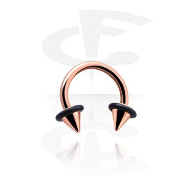 Circular Barbell, Circular barbell con coni ufo, Acciaio con placcatura in oro rosato