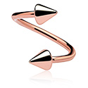 Spirals, Spiral with cones, Rosegold Plated Surgical Steel 316L