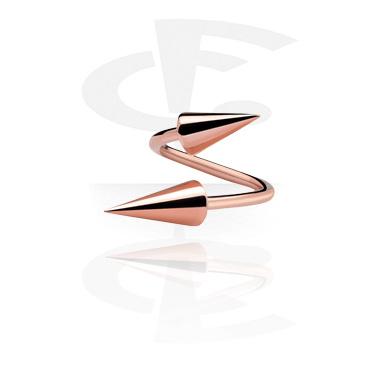 Spirali, Spirale con coni, Acciaio chirurgico 316L placcato in oro rosa
