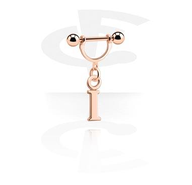 Nipple Piercings, Nipple Shield with Charm, Rosegold Plated Steel