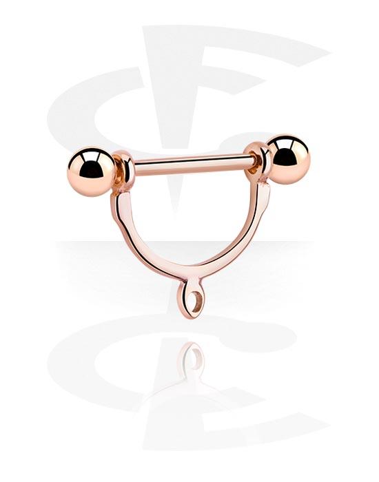 Kuglice, šipkice i još mnogo toga, Nipple Stirrup with Hoop, Kirurški čelik pozlaćen ružičastim zlatom 316L