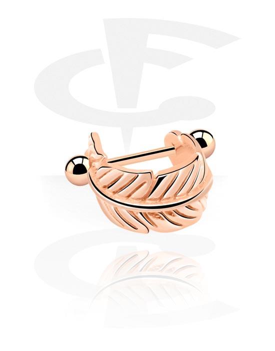 Helix / Tragus, Helix piercing z Feather Design, Stal chirurgiczna powlekana różowym złotem 316L