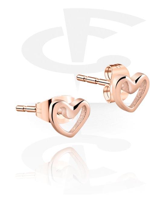 Naušnice, Ear Studs s Heart Design, Kirurški čelik pozlaćen ružičastim zlatom 316L