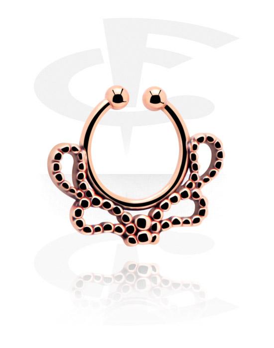 Imitacja biżuterii do piercingu, Fake Septum, Stal chirurgiczna powlekana różowym złotem 316L