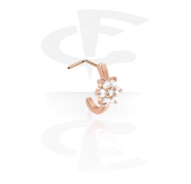 Kolczyki do nosa, Curved Jewelled Nose Stud, Rose Gold Plated Steel