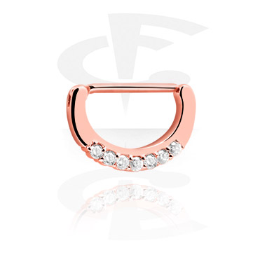Nipple Piercings, Nipple Clicker with Crystal Stones, Rosegold Plated Surgical Steel 316L