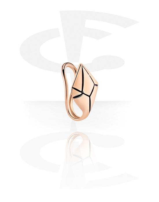 Falešné piercingové šperky, Nose Cuff, Chirurgická ocel 316L pozlacená růžovým zlatem
