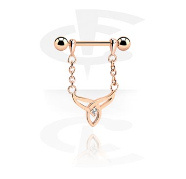 Nipple Piercings, Nipple Barbell, Rosegold Plated Surgical Steel 316L