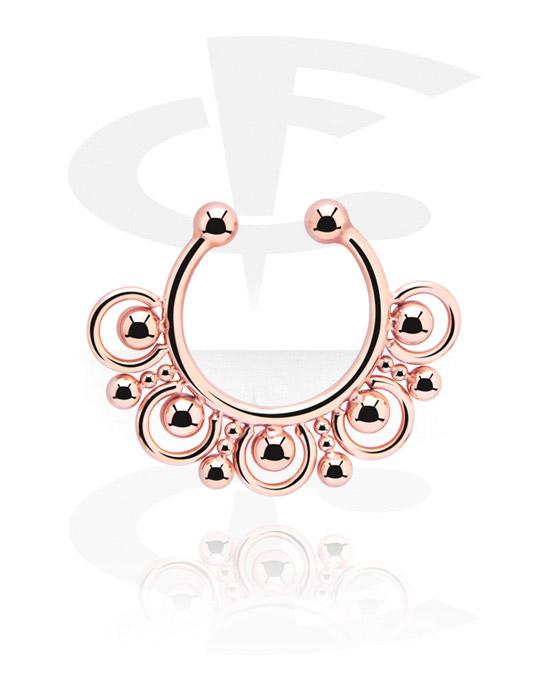 Falešné piercingové šperky, Fake septum, Chirurgická ocel 316L pozlacená růžovým zlatem