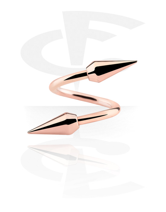 Spirals, Spiral with Cones, Rose Gold Plated Surgical Steel 316L