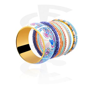 Bracelets, Fashion Bangle, Mixed Wood, Glass, Resin, Plated Brass, Aluminium