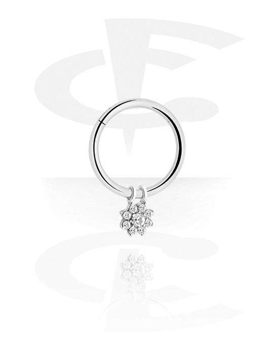 Alke za piercing, Višenamjenski kliker s flower charm i crystal stones, Kirurški čelik 316L