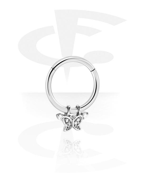 Alke za piercing, Višenamjenski kliker s butterfly attachment i crystal stones, Kirurški čelik 316L