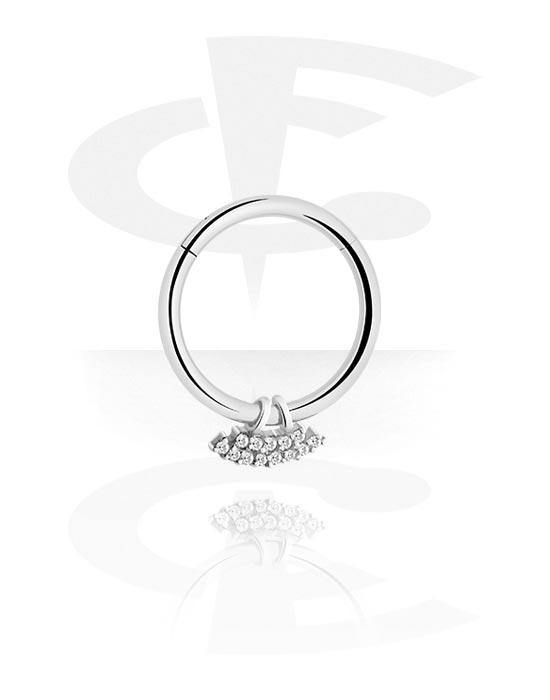 Alke za piercing, Višenamjenski kliker s charm i crystal stones, Kirurški čelik 316L