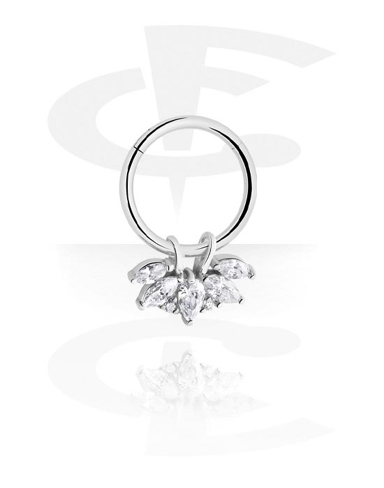 Renkaat, Monikäyttönipistin kanssa charm ja crystal stones, Kirurginteräs 316L