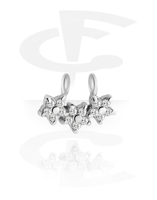 Palloja, nappeja ynnä muuta, Sliding Jeweled Charm for Hinged Segment Ring, Kirurginteräs 316L