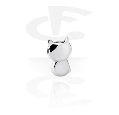 Einzelteile & Zubehör, Aufsatz für Ball Closure Ringe mit Katzen-Design, Chirurgenstahl 316L