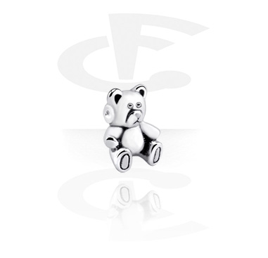 Balls & Replacement Ends, Attachment for Ball Closure Rings with cute teddy bear design, Surgical Steel 316L