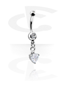 Banany, Small Double Jeweled Banana with Charm, Surgical Steel 316L