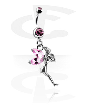 Curved Barbells, Double Jeweled Banana with Charm, Surgical Steel 316L