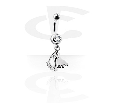 Banany, Small Double Jewelled Banana with Charm, Surgical Steel 316L