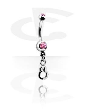 Curved Barbells, Small Double Jeweled Banana with Charm, Surgical Steel 316L