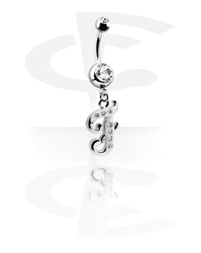 Curved Barbells, Jeweled Banana with Charm, Surgical Steel 316L