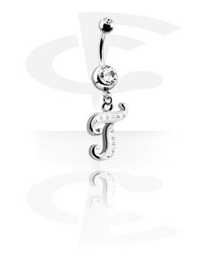 Curved Barbells, Jewelled Banana with Charm, Surgical Steel 316L
