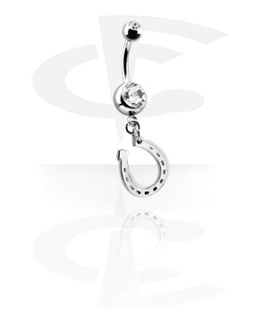 Curved Barbells, Double Jewelled Banana with Charm, Surgical Steel 316L