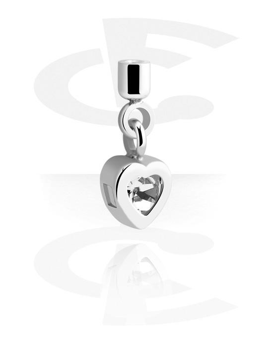 Palline, barrette e altro, Accessorio per barrette da 1,2 mm  con ciondolo a cuore, Acciaio chirurgico 316L