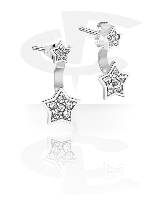 Earrings, Studs & Shields, Ear Studs with Crystal Stones, Surgical Steel 316L