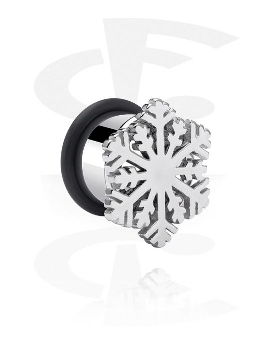 Tunely & plugy, Single Flared Tunnel s Snowflake Design, Chirurgická ocel 316L