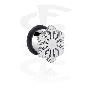 Tunnels & Plugs, Single Flared Tunnel with Snowflake Design, Surgical Steel 316L