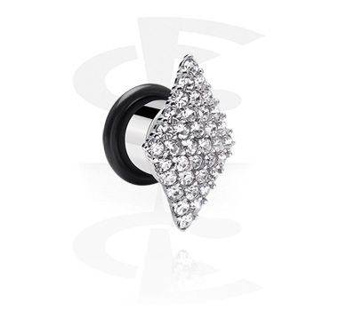Tunnels & Plugs, Single Flared Tunnel with Crystal Stones, Surgical Steel 316L