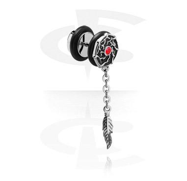 Falešné piercingové šperky, Fake Plug with Pendant, Surgical Steel 316L