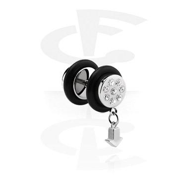 Falešné piercingové šperky, Fake Plug with Charm, Surgical Steel 316L