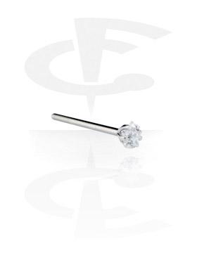 Neuspiercings, Recht neusknopje met steentje, Chirurgisch Staal 316L