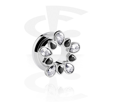 Tunnels & Plugs, Jewelled Flesh Tunnel, Surgical Steel 316L