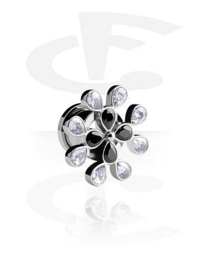 Tunely & plugy, Fleš tunel s krystalovou květinou, Surgical Steel 316L