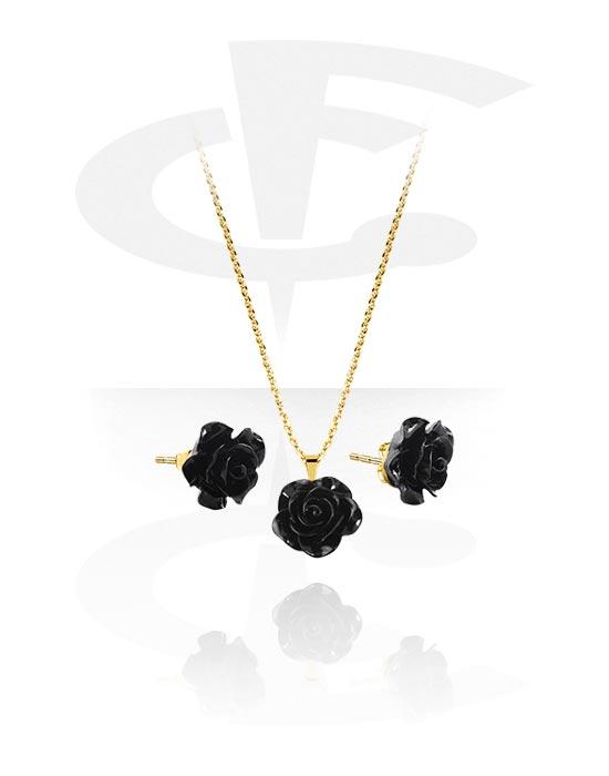 Ogrlice, Necklace and Earrings set s Rose design, Pozlaćeni kirurški čelik 316L