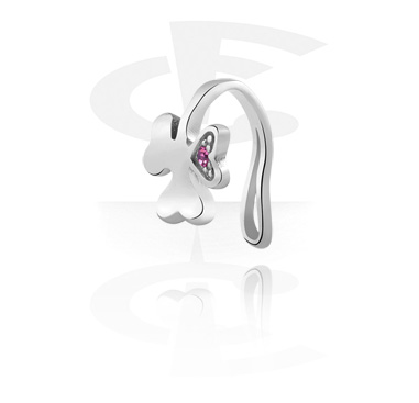 Fake Piercings, Nose Cuff with Clover Leaf Design, Surgical Steel 316L