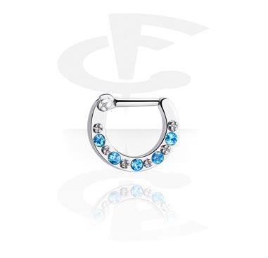 Nose Jewelry & Septums, Septum Clicker with Crystal Stones, Surgical Steel 316L
