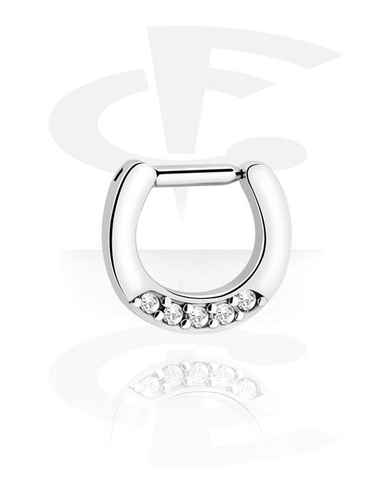Kolczyki do nosa, Septum Clicker z crystal stones, Stal chirurgiczna 316L